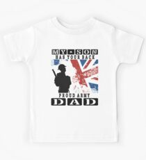 Men's United Kingdom Flag My Son HAS Your Back Proud Army DAD T Shirt Kids Tee