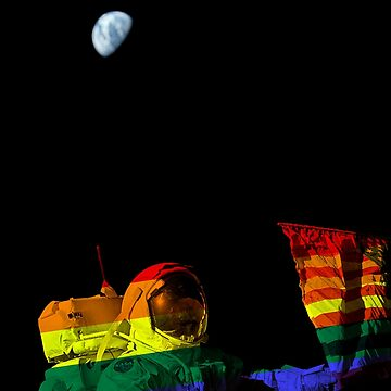 First Lunar landing-Pride,Rainbow Flag-Astronaut-Moon by carlosafmarques