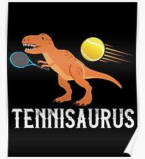 Tennis Dino Saurus Funny Dino Poster