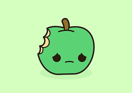 Quot Cute Sad Apple Quot Posters By Peppermintpopuk Redbubble