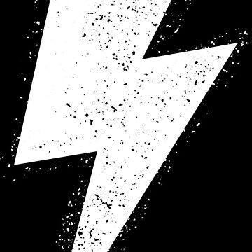 Lightning Bolt 2 Cool Rock Logo White Distressed by decentdesigns