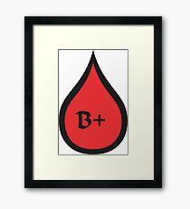 Blood Type B+ (black/red) Framed Print
