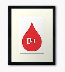 Blood Type B+ (white/red) Framed Print