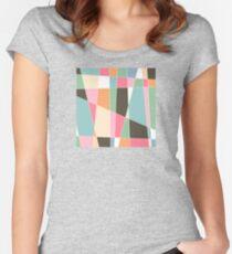 Mid Century Modern Skewed Color Blocks - Pink, Green, Brown, Blue, Orange Women's Fitted Scoop T-Shirt