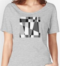 Mid Century Modern Skewed Color Blocks - Gray, Black and White Women's Relaxed Fit T-Shirt