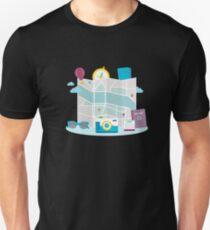 Flat Design Travel Map Passport Sunglasses Camera Unisex T-Shirt