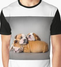English bulldog puppies on Union Jack background Graphic T-Shirt