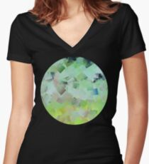Abstract cubic pattern circle (yellow green design) Women's Fitted V-Neck T-Shirt