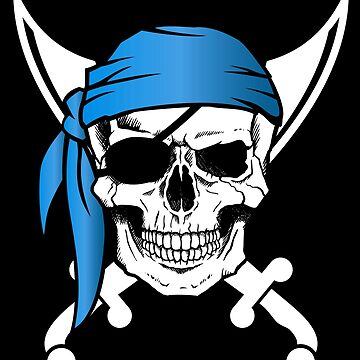 Pirate Skull and Knives blue Jolly Roger by LarkDesigns