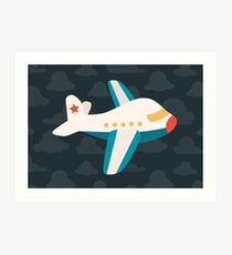 Cute Airplane on Navy Art Print