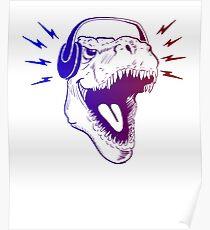 Tyrannosaur T-Rex listening to headphones music fan lover design Poster