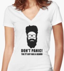 IT GUY with Beard Women's Fitted V-Neck T-Shirt