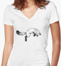 Jumping Fox Women's Fitted V-Neck T-Shirt