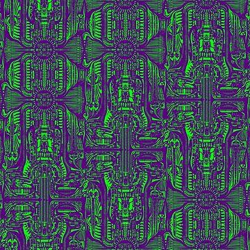 Purple & Green Giger Biomech Pattern by z0mbieparade