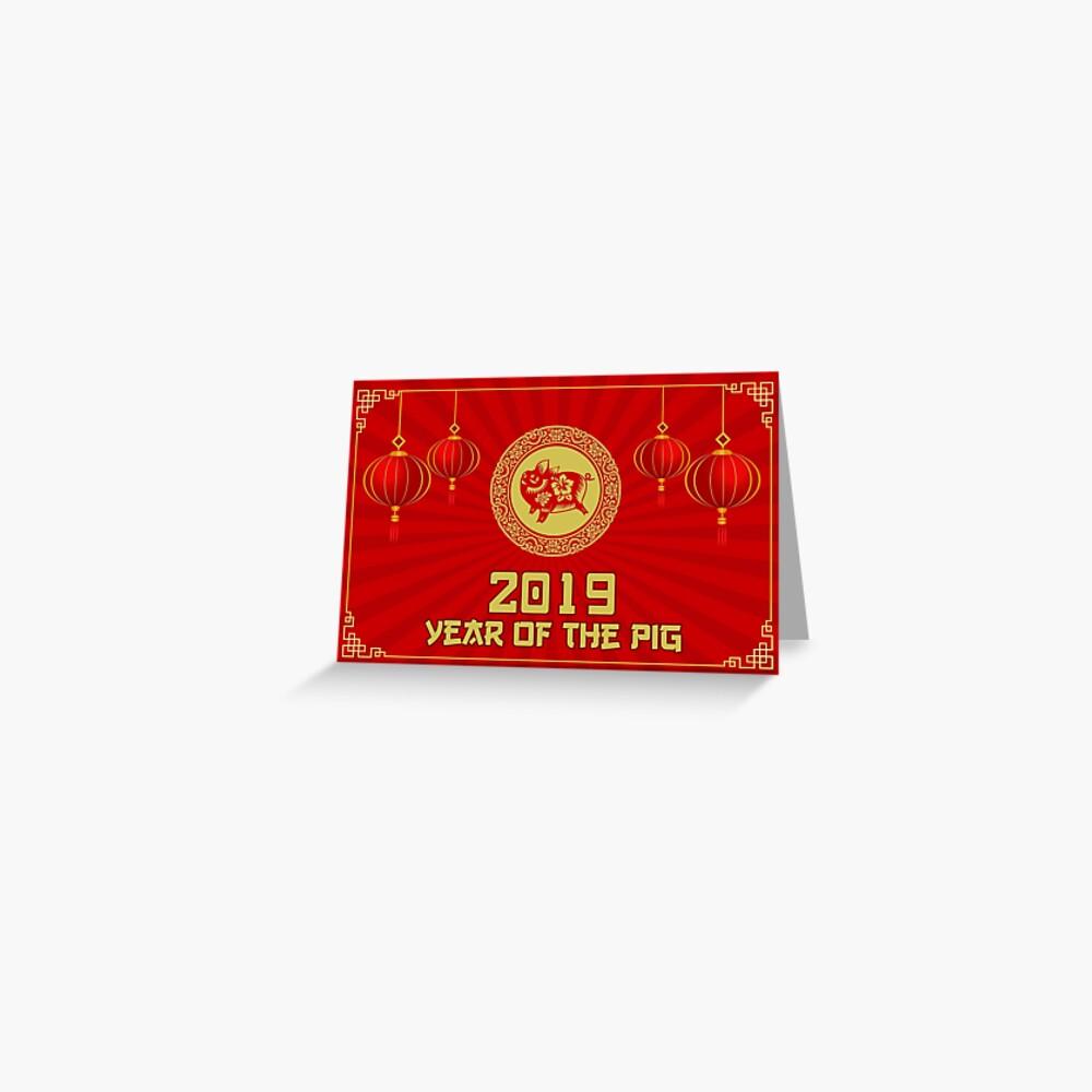 Jahr des Schweins Chinesisches Neujahr 2019 Karte Grußkarte