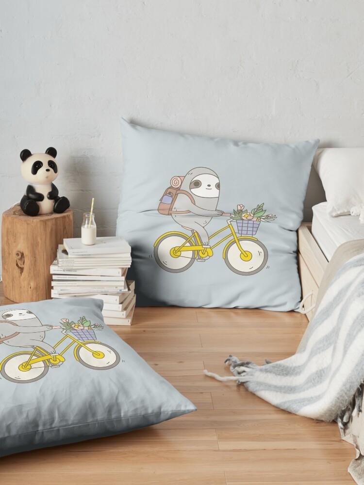 Alternate view of Biking Sloth  Floor Pillow