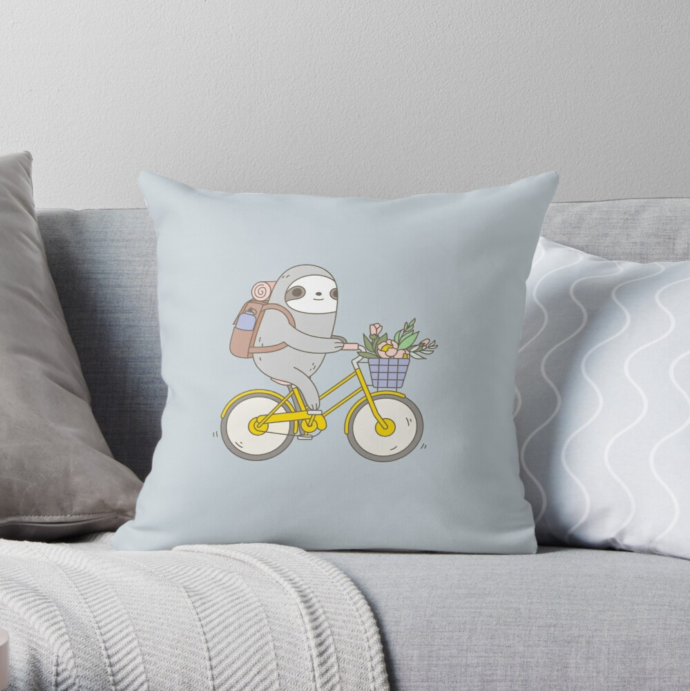 Biking Sloth  Throw Pillow