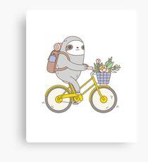 Biking Sloth Leinwanddruck