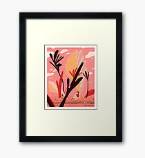 Colorful Landscape with a Girl Framed Print