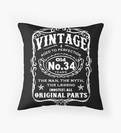 Vintage Aged To Perfection 34 Years Old Throw Pillow
