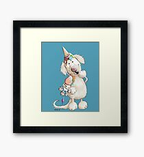 Golden Retriever With Ice Cream And Unicorn Toy Framed Print