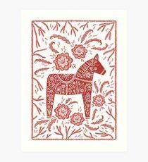 Schwedische Dala Horse Volkskunst Kunstdruck