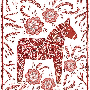 Swedish Dala Horse Folk Art by squirrell