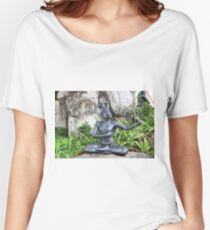 In the lotus position the monk sits quite peacefully Women's Relaxed Fit T-Shirt
