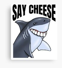 Say Cheese Funny Shark Teeth Shark Lovers Birthday Gift Canvas Print