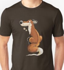 Red Fox With Flowers I Cartoon Art  Unisex T-Shirt