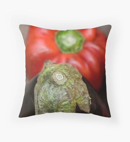 Eggplant and pepper Throw Pillow
