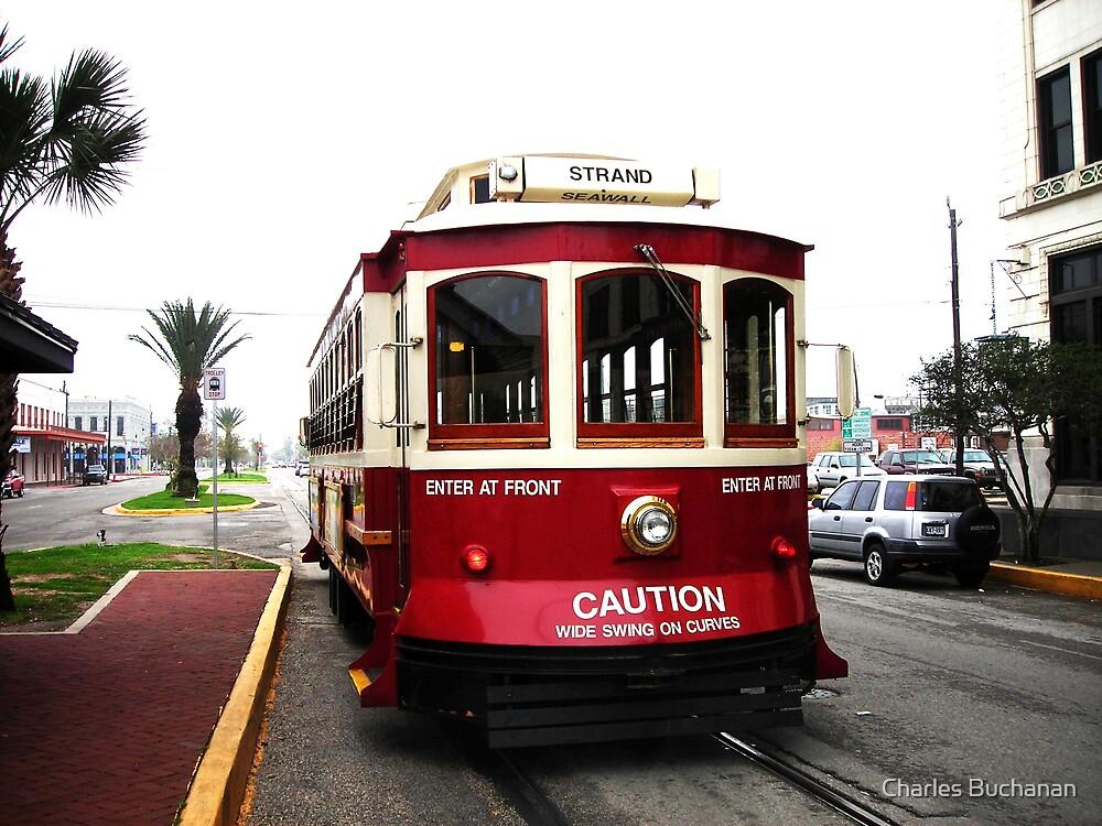 Red Trolley, Galveston Island by Charles Buchanan