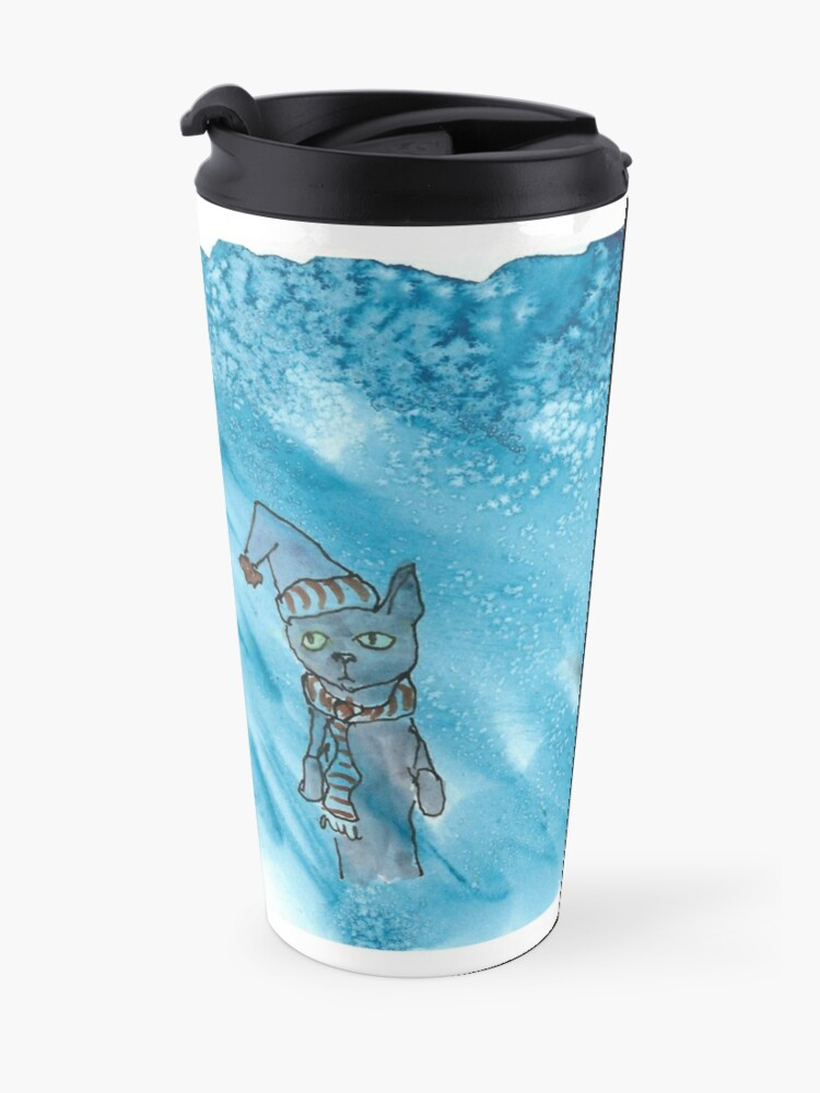 Alternate view of Cat in a snowstorm Travel Mug