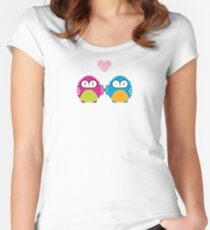 OWLS IN LOVE :: bright Women's Fitted Scoop T-Shirt