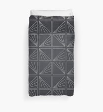 Grey Lined Square Geometric Patterns Duvet Cover