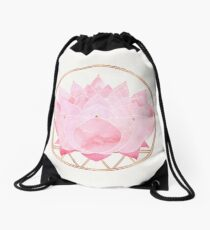 Pink Lotus Drawstring Bag