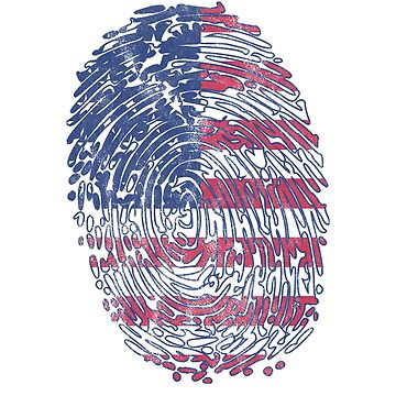 4th of July Shirts All American DNA Finger Print US Flag Tee by arnaldog