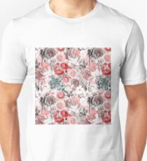 Old Sepia Flowers on Pink Pattern Unisex T-Shirt