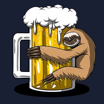 Lazy Sloth Beer Drinking Lover Funny by underheaven