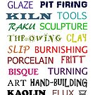 Pottery Glossary Tee-shirt (Multicoloured) by Deanna Roberts Think in Pictures