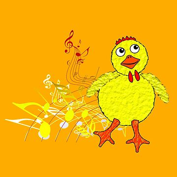 The Chicken Dance on orange by ZipaC
