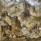 """A digital painting of """"Edinburgh Castle from the Foot of the Vennel, 1845""""  by Dennis Melling"""