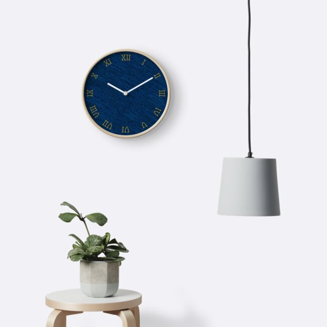 Denim classic blue jeans fabric and a clock with stitched yellow roman numerals by Mike Suszycki