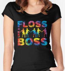 Floss Like A Boss Tie Dye Women's Fitted Scoop T-Shirt