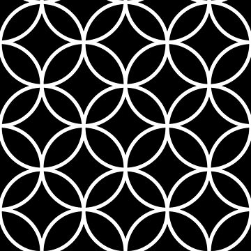 Interlinking Circles Pattern White on Black by NataliePaskell