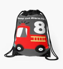 Fire Truck Sound The Alarm I'm 8! Drawstring Bag