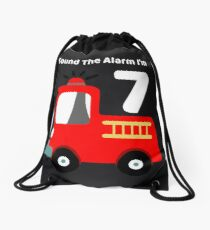 Fire Truck Sound The Alarm I'm 7! Drawstring Bag