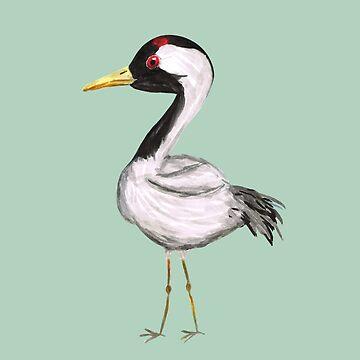 Cute crane watercolor by Bwiselizzy