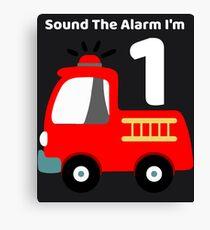 Fire Truck Sound The Alarm I'm 1! Canvas Print