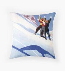 Vintage Aosta winter sports Italian Alps travel ad Throw Pillow
